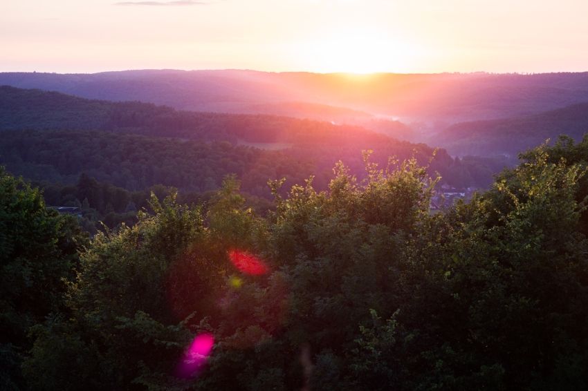 alsace, lichtenberg, coucher de soleil, vosges du nord