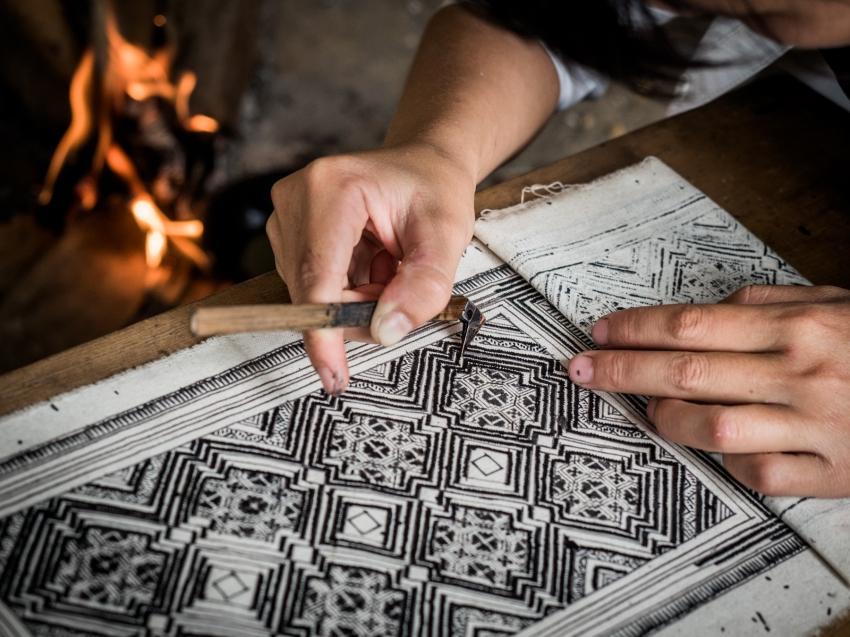 batik, main, indigo, portraits ethniques, vietnam, ethnies minoritaire