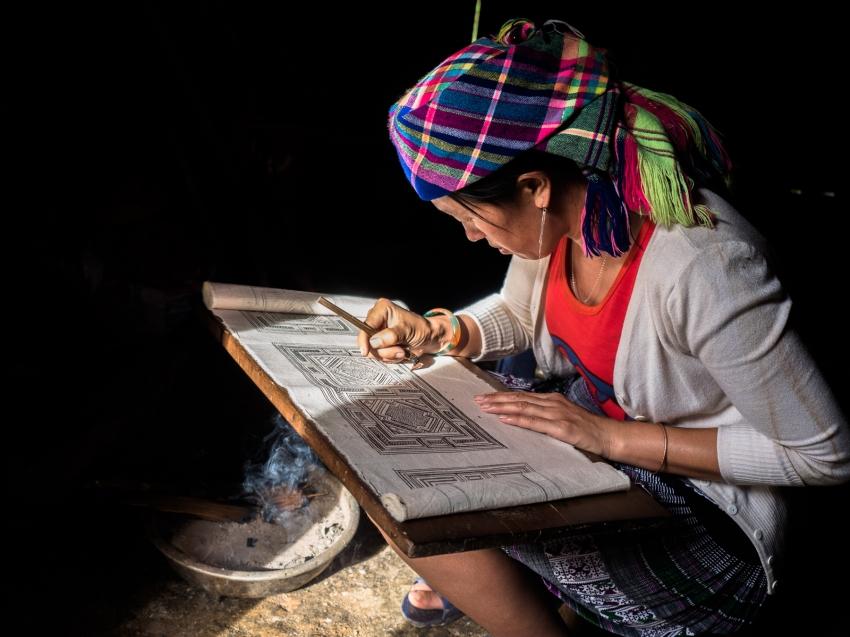 batik, main, indigo, portraits ethniques, vietnam