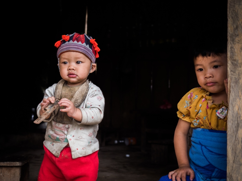 vietnam, ethnies minoritaire, portrait, bébé dzao